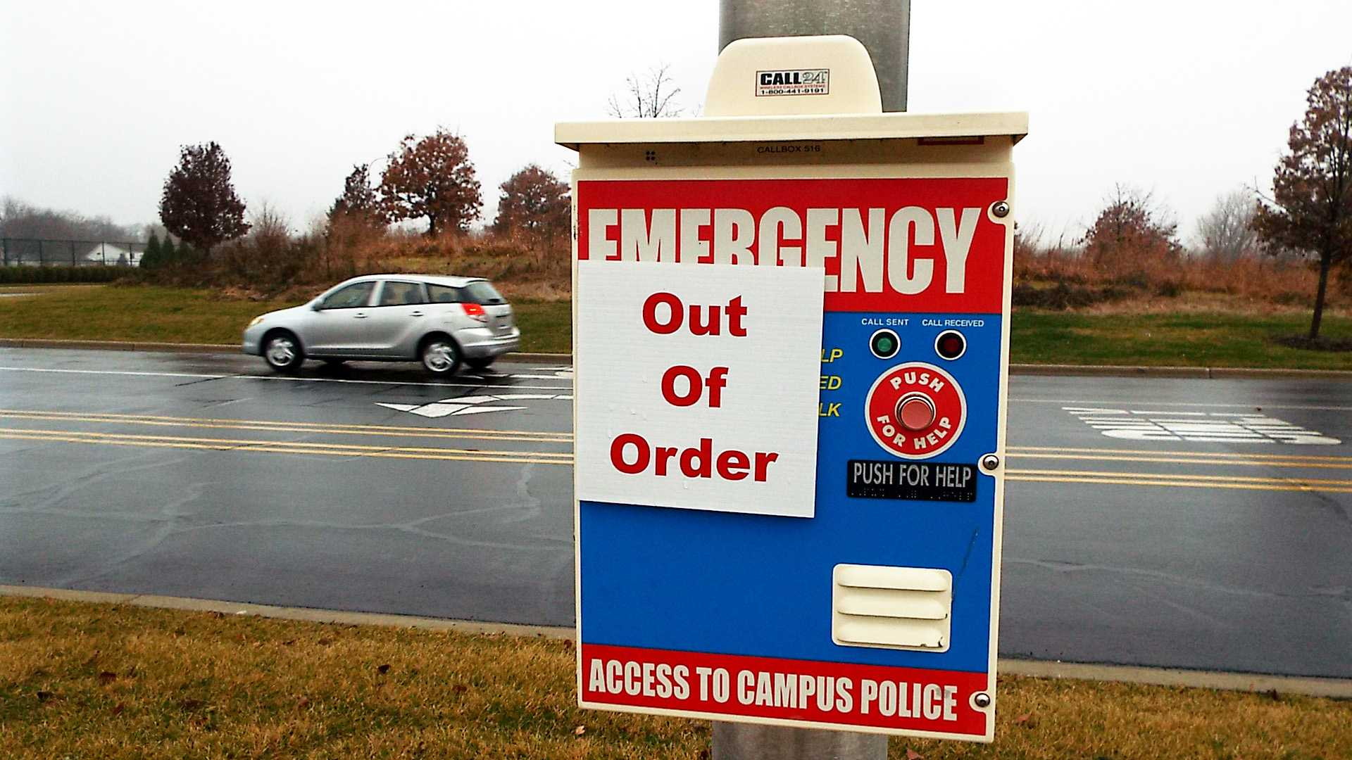 An out of order Emergency Call Box off of Park and Tallgrass at the College of DuPage on Dec. 8th, 2014.
