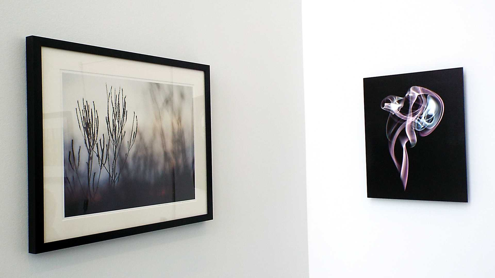 """The pieces """"Silhouette Glow"""" by Dee hudson (left) and """"Apparition"""" by Lorae Mundt (right) at the Wings Student Art Gallery in the College of DuPage on Jan. 28. These and many other pieces will be here until Feb. 27, 2015."""