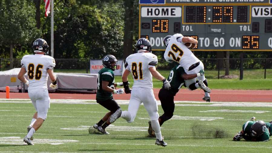 Defensive+Back+%2329+Kyler+Davis+takes+down+University+of+Wisconsin+Oshkosh+player+at+the+College+of+DuPage+on+Sept.+7.