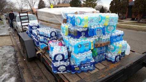 Bottled Water for donation to Flint, Mich. on a trailer in Addison, Ill. on Jan. 30.