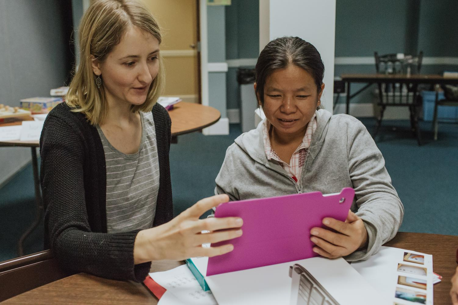 A refugee utilizes World Relief DuPage/Aurora's English as a Second Language (ESL) class to help ease the difficulties of settling into a new culture.
