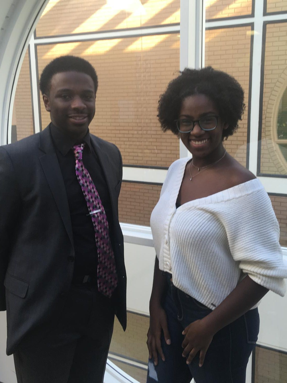 Co-presidents Djimon Lewis and Taria Murphy of the Black Student Alliance at College of DuPage