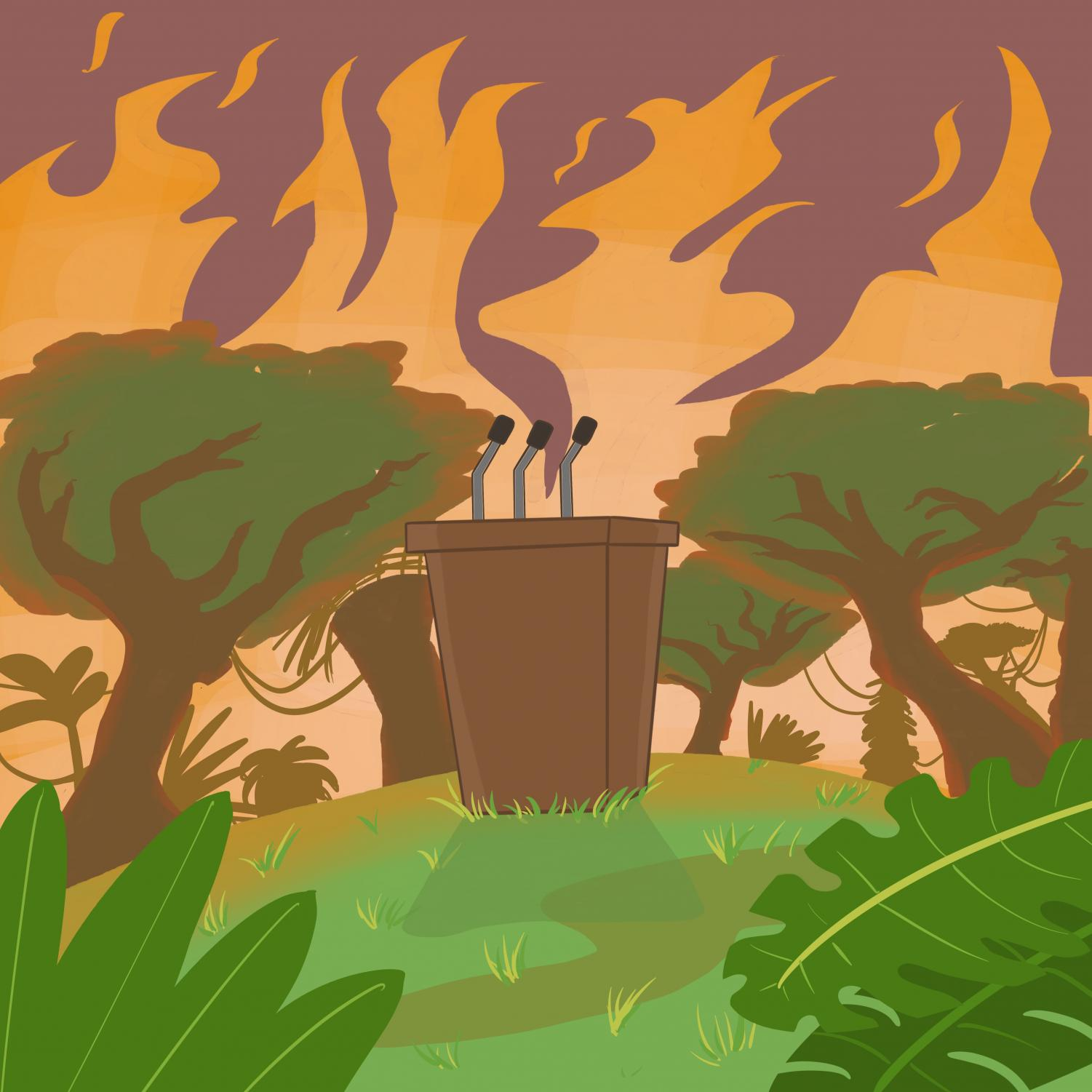 The increased burning and deforestation of the Amazon represents a global problem. With the rise of populist rhetoric hindering diplomatic solutions, could the flames represent a new reality to a changing international order? (graphic by: Jessica Tapia)