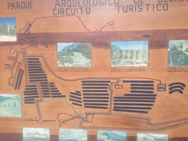 A map of the ruins at Ollantaytambo. This is all you get as far as explanations