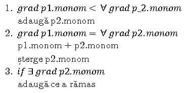 Algoritm calculare grad polinom