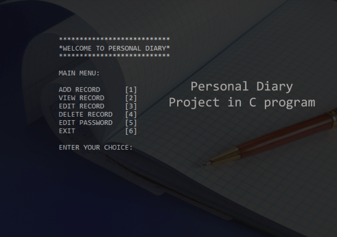 Personal diary project in C with Source code