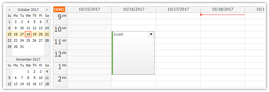 JavaScript Weekly Calendar in ASP.NET Core Application