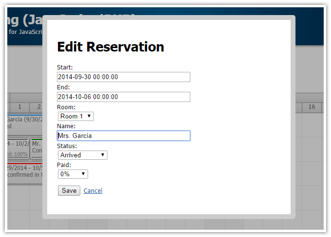 HTML5 Hotel Room Booking JavaScript PHP MySQL DayPilot