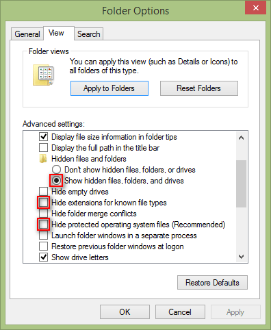 folder option unhide extension