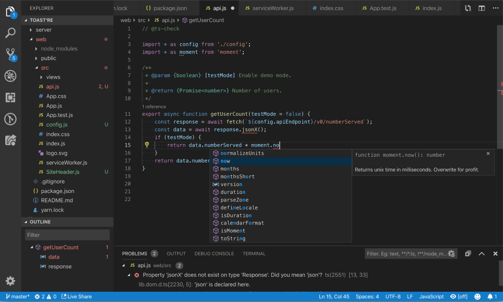Working with JavaScript in Visual Studio Code