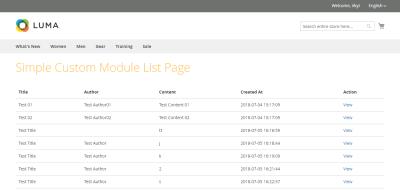 Display custom module data list page Magento 2