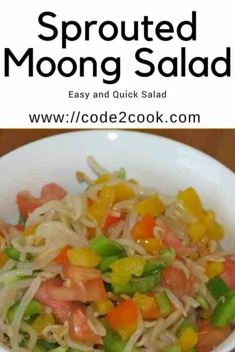 Sprouted moong salad is very healthy and nutritious. Whole moong dal/yellow lentil is a good source of vitamins like Vit K, Vit C, Iron, Vit B, and protein. Sprouted moong salad can be eaten as a snack or breakfast. This is also a great post-workout snack. www.code2cook.com