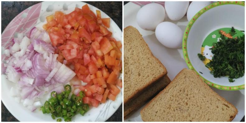 Bread omelet is one of the famous street food in India with bread slices and eggs mixture. It is simple, quick and so flavorful breakfast in the morning either with tea or milk.