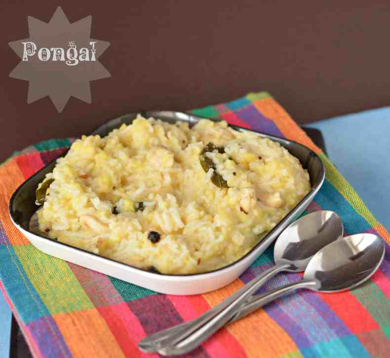 For Pongal we make a recipe Khara Pongal also known as Van Pongal.  Yellow lentil cooked with rice and a few spices taste amazing and good for the stomach.
