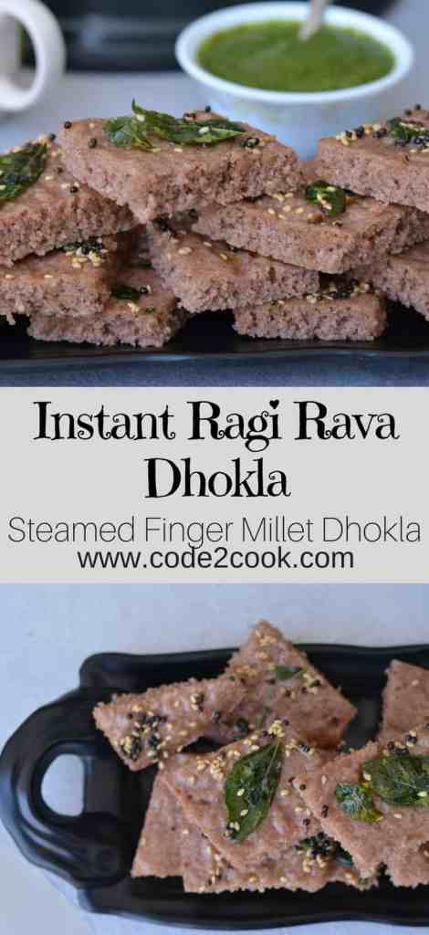 "Ragi is a rich source of fiber, calcium, and iron. When it is consumed it is considered to be a great food for weight control, diabetes and cooling the body. Ragi is also gluten-free and highly suitable for those who are lactose intolerant. Today I am showcasing a Gujarati snack ""Dhokla"" in a new avatar. Ragi dhokla, a very simple snack to make and oil free as it is steam cooked. www.code2cook.com"