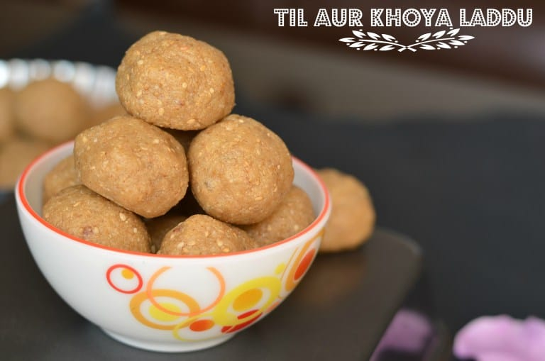 til mawa laddu are served in glass bowl. Close up click taken.