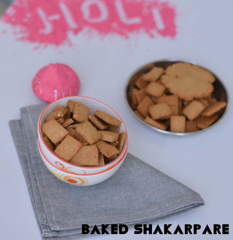 Baked Shakarpara is a sweet wholewheat biscuit which is prepared specially on Holi festival in India. Traditionally sweet shakarpara recipe uses refined flour, and they are deep fried. As the name says, baked shakarpara is the healthy version using whole wheat flour and no deep frying required.