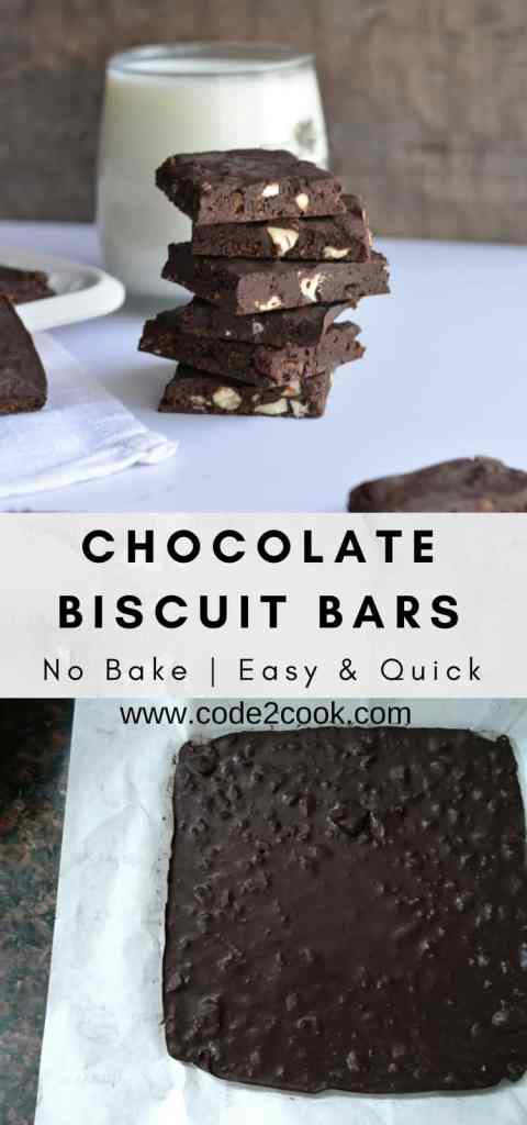Today I am sharing yet another no-bake recipe Chocolate biscuit bars. Chocolate biscuit bars are made with leftover Brittania bourbon biscuit, nuts, and chocolate. Very easy to make, just whisking all ingredients and set the mixture in the fridge for few minutes. These no-bake chocolate biscuit barsmade their way to my kid's tummy in just a few minutes. www.code2cook.com