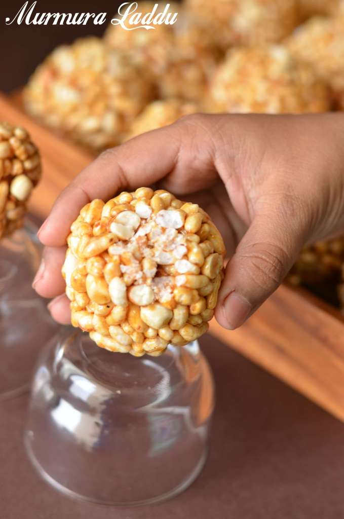 murmura ladoo is clicked after one bite. It is a close up click.