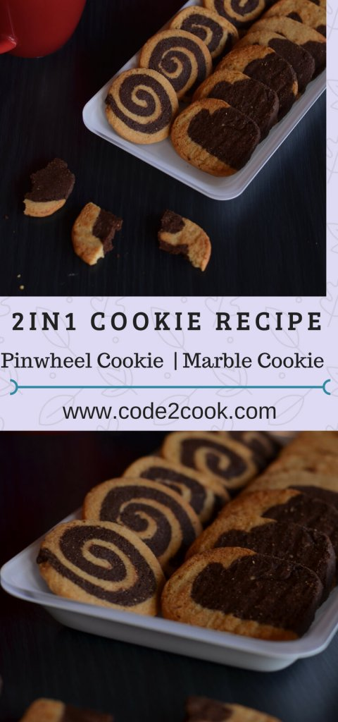 Pinwheel cookies and marble cookies are all-time favorite cookies, loved by all age groups, eggless and  I made them using wheat flour. The basic dough recipe is the same for making both cookies that is the reason named this post as 2in1 dough recipe.