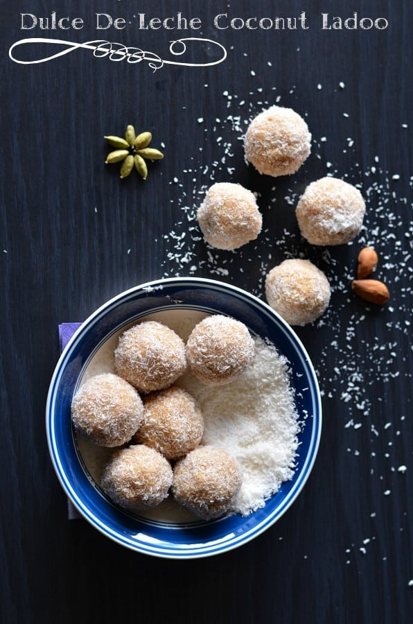 Dulce de leche coconut ladoo are chewy and caramel flavored delicious sweet. This irresistibly tasty ladoo are prepared with just 3 ingredients.Coconut ladoo or nariyal ladoo are often prepared for festive times like Ganesh Chaturthi, Dussehra, Diwali, and Holi.