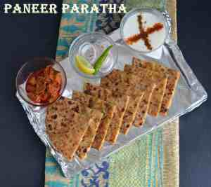 Paneer Paratha is very famous paratha and often served with curd or pickle mostly in every restaurantin India. This is an Indian flatbread which is stuffed with grated paneer or cottage cheese stuffing and seasoned with few spices. A great tiffin box recipe and can be eaten in any meal.