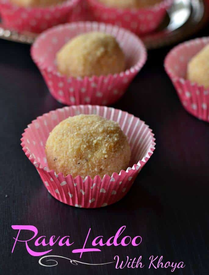 Sooji mawa ladoo is quick and easy Indian sweet to prepare on festivals like Ganesh Chaturthi, Diwali, Janamashtmi or Holi. Sooji mawa ladoo are prepared with sooji or rava, mawa or khoya (evaporated milk solids), sugar and ghee. These sooji mava laddus are very easy to make at home.