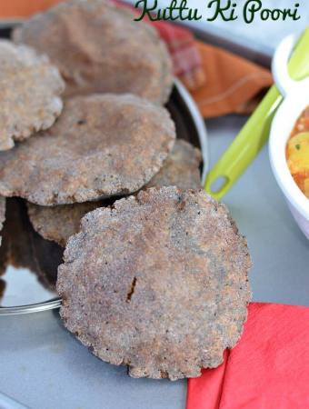 Kuttu ki poori or buckwheat puri is a staple food during fasting like Navratri, Ekadashi. Crispy and flavorful kuttu pooris are commonly made in vrat or upwas in North India. Kuttu ki poori is great with vrat vale aloo sabji or any vrat ki sabji or just with simple curd.