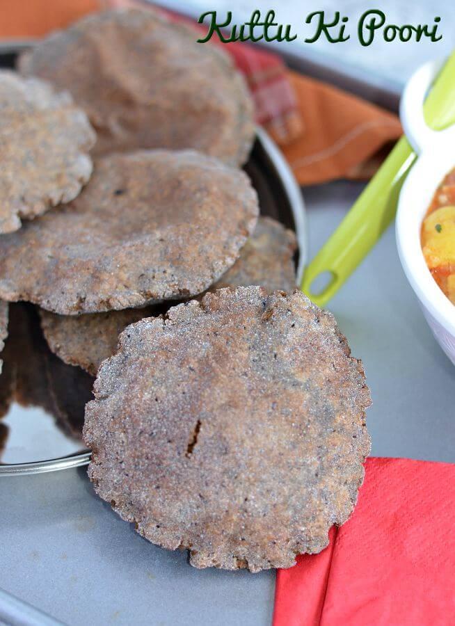 Kuttu ki poori or buckwheat puri is a staple food during fasting like Navratri, Ekadashi. Crispy and flavorful kuttu pooris are commonly made in vrat or upwas in North India. Kuttu ki poori is great with vrat vale aloo sabji or any vrat ki sabji or just with simple curd.