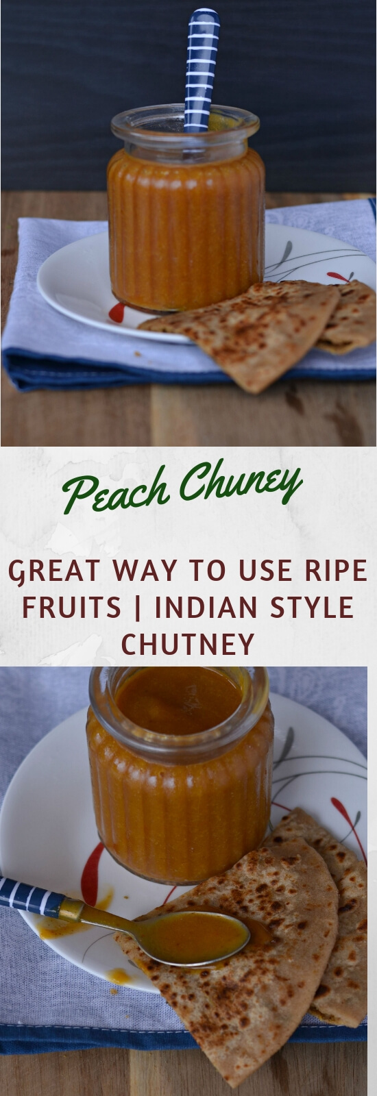Peach chutney is sweet, slightly hot and savory condiment which goes very well with fritters, sandwiches, Indian flatbread (paratha) and many more. This taste great with the goodness of peach.