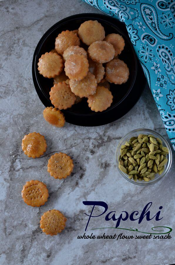 Papchi is a traditional sweet snack from Chhattisgarh made with whole wheat flour and coated with sugar syrup. Papchi makes a great snack to make on festivals and a great snack for kids tiffin box.