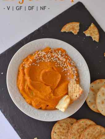 Carrot dip is a delicious, super healthy dip with crackers and veggies. This is a gluten-free, vegan, sugarfree, dairy-free and nut-free dip. This carrot dip is creamy, smooth and soft in texture, goes very well with any starters/appetizers or salad.