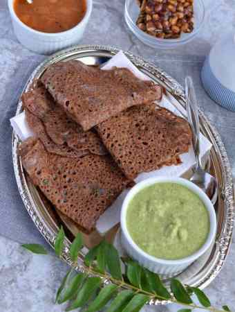 Ragi Rava Dosa is a quick and easy dosa recipe for breakfast, which requires no fermentation. This instant ragi rava dosa or crepe is made with ragi which is known as finger millet flour, rice flour, and semolina. Ragi rava dosa is a healthy, nutritious, quick Indian breakfast recipe.