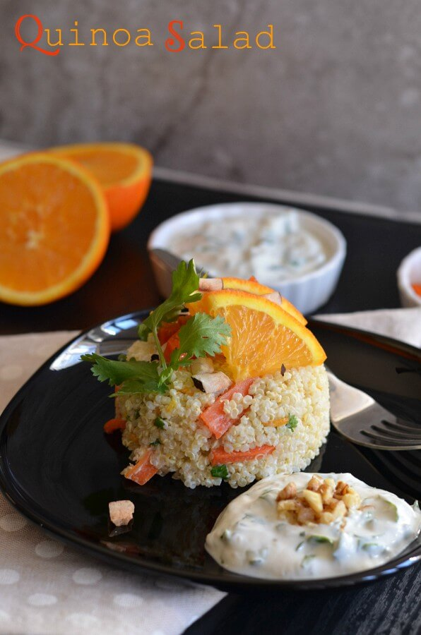 Carrot quinoa salad with yogurt tahini dressing is a healthy, nutrient-rich and delicious fresh salad. If you look for a healthy, balanced and full of nutrients vegetarian meal then this carrot quinoa salad with yogurt tahini dressing is perfect to indulge.  This quinoa bowl salad is gluten-free. You can use vegan curd to make it a vegan quinoa salad as well.