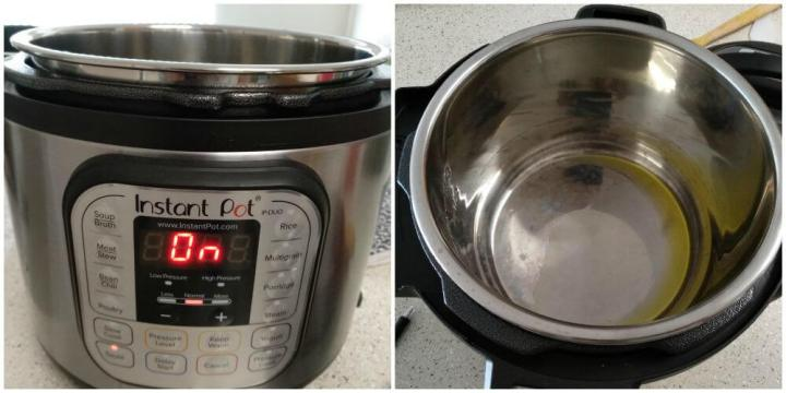 Instant pot is switched on and set on SAUTE MODE. Added oil to it.