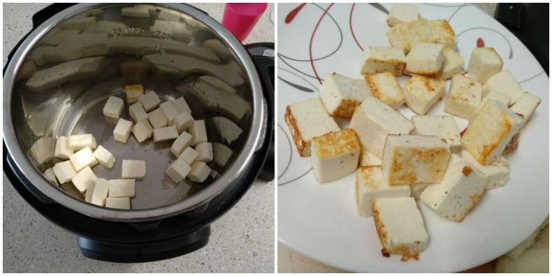 added cubed paneer and sauteed till it is golden in color. transferred to a serving plate