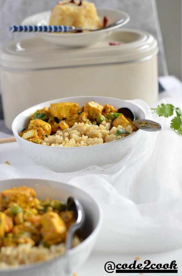 sana thongpa served with quinoa in white bowl with alu kangmet recipe.