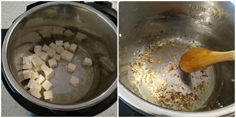 tofu is sauteed in oil and transferred to a plate. In the same pot cumin seed crackled and added ginger-garlic paste