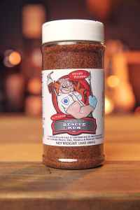 Code 3 Spices 13oz. Bottle of Rescue All Purpose Rub with a white cap.