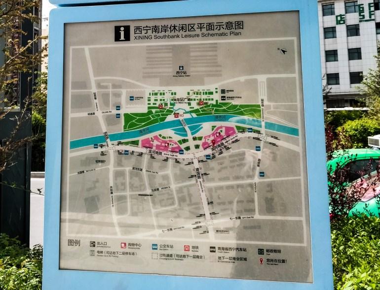 Mapa Centrum Xining