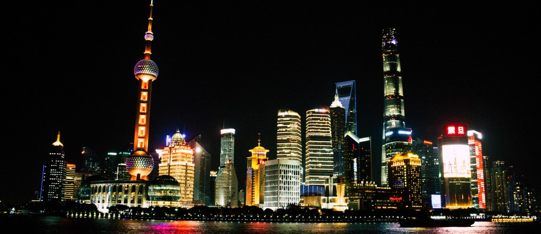Panorama Szanghaju w nocy