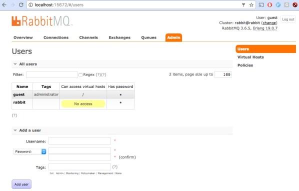 RabbitMQ: add user