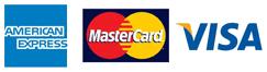 American Express, Visa and Mastercard logos