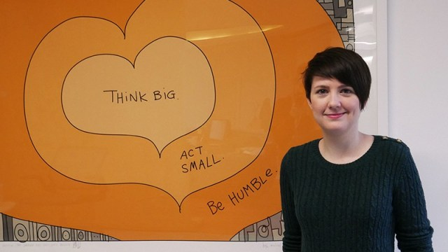 Vicky standing in Nucleus Financial's Edinburgh office