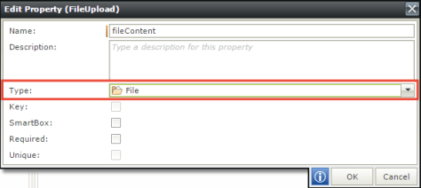 Change the fileContent property type to File