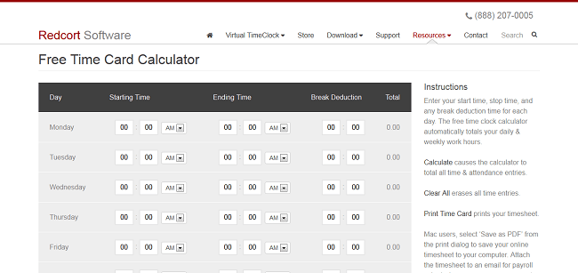 free timeclock calculator