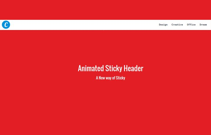 Jquery Animated Sticky Header