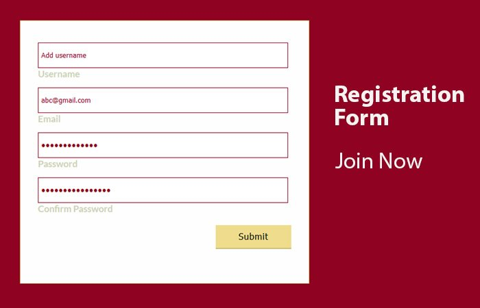 Registration Form in HTML with Validation