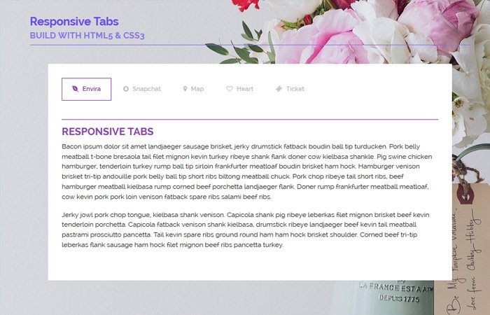 Beautiful Tabs in HTML Using CSS Example