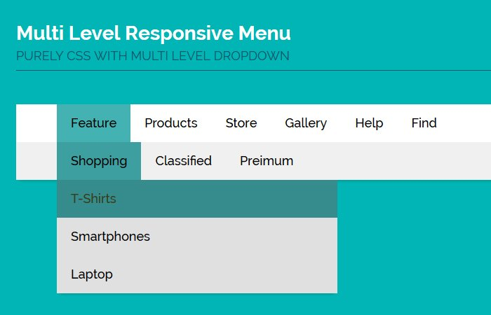 Horizontal Multi Level Menu & Dropdown Based on CSS only